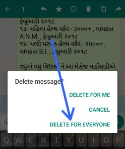 Delete sent WhatsApp messages on android phone