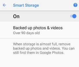 Enable smart storage in android Oreo