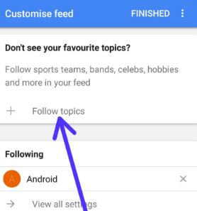 Follow topics to add in Google feed android