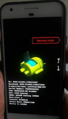 Recovery mode in Pixel 2 Oreo device