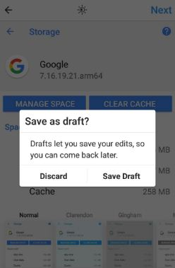 How to save Instagram post as draft on android phone