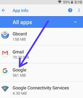Tap on Google App in apps list