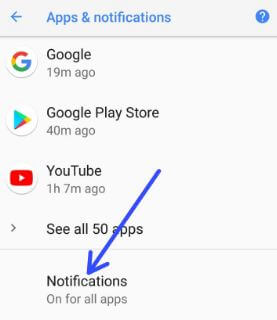 App Notification in android 8.1 Oreo phone