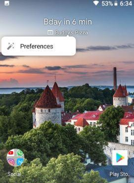 At a glance widget on Google Pixel 2