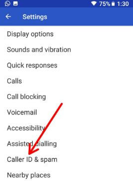 Caller ID & Spam settings in android Oreo