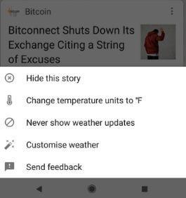 Change weather widget stories settings in Pixel 2