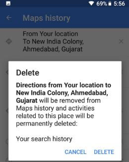 on clear google map history
