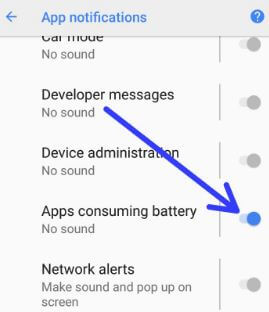 Enable battery usage notification in android 8.1 Oreo