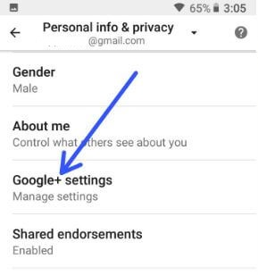 Google Plus settings in android Oreo devices