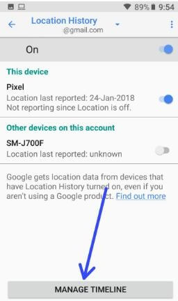 Google location history settings in android phone