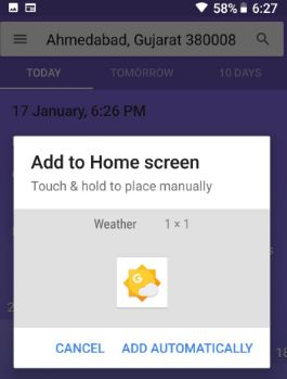 How to add weather widget to Pixel 2 home screen