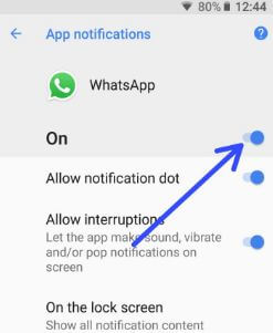 How to block whatsApp notification in android Oreo