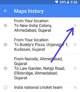 How to clear Google Maps history on android Oreo