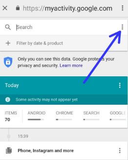 How to delete my Google search history on android Oreo