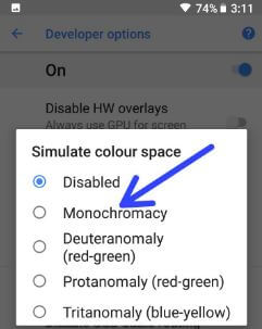 How to enable Pixel 2 grayscale display mode