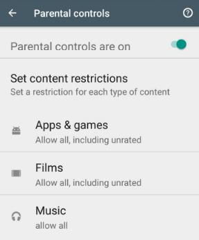 How to enable parental controls on android 8.0 Oreo