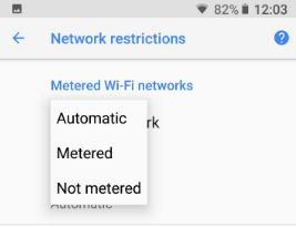 How to set Metered Wi-Fi network on android Oreo