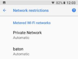 Metered wifi networks android device