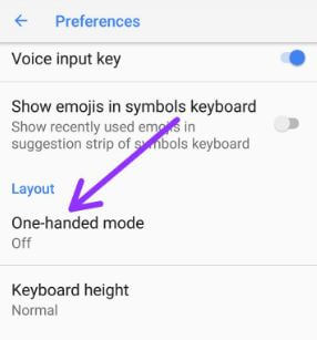 One handed mode in android Oreo