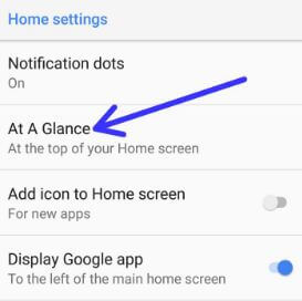 Pixel 2 at a glance settings on home screen