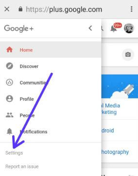 Remove Google+ account in android Oreo