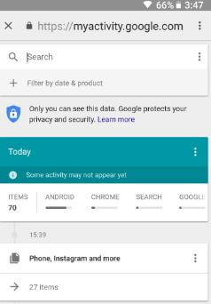 Remove my Google search history on android Nougat and Oreo