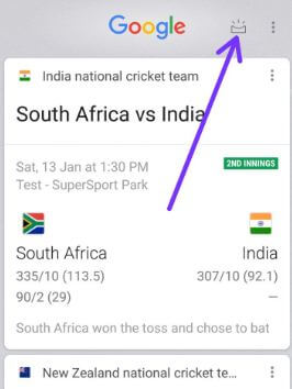 Tap on Google feed button in android 8