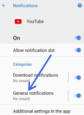 Tap on any app category you want to disable peeking notification in Oreo