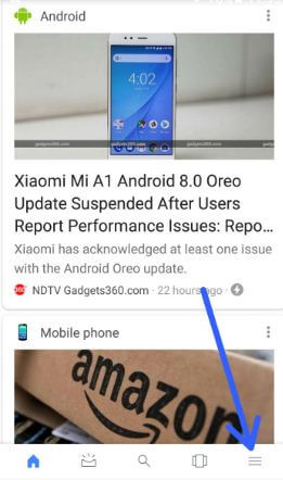 Tap on menu at bottom right corner in android 8.0 Oreo