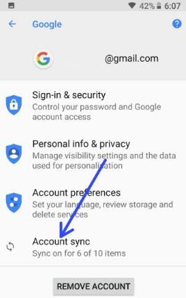 Account sync in android 8.1 Oreo