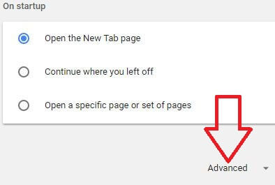 Advanced settings in Google chrome browser in desktop PC
