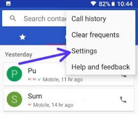 Contacts app settings in android 8 Oreo