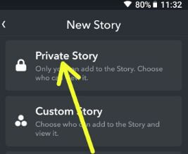 Create private snapchat story in android phone
