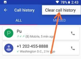 Delete call history on Google Pixel 2