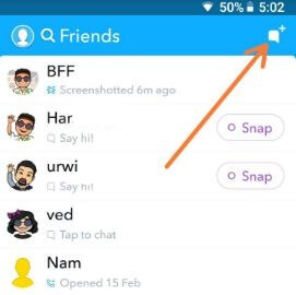 Make a Group on Snapchat in android
