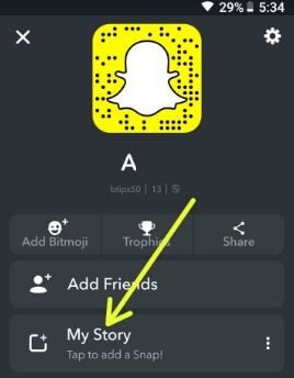 My story in Snapchat app android phone