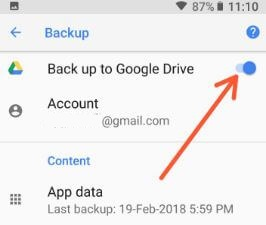 Recover deleted contacts and call logs in Oreo using Google drive