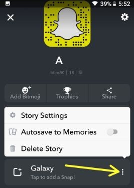 Snapchat Geo fenced story settings in android