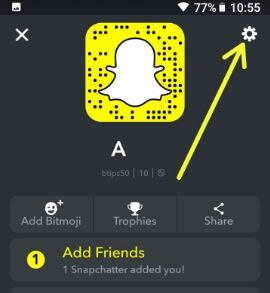 Snapchat settings in android phone