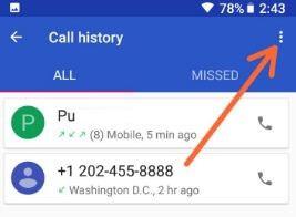 Three vertical dots in phone app settings in Oreo