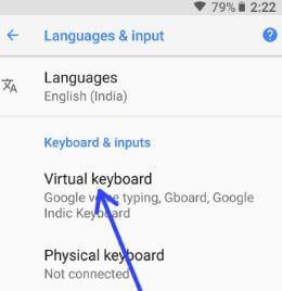 Virtual keyboard settings in android 8 Oreo