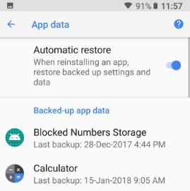 Backup and restore android apps and data in Oreo
