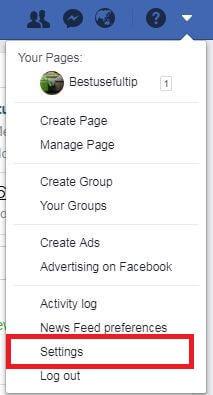 Facebook account settings in Windows desktop