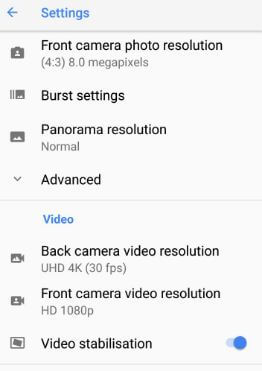 Google Pixel camera video settings