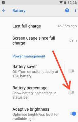 Show battery percentage in status bar android 8.1 Oreo