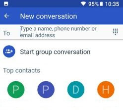 Add number or name to send picture message from Google Pixel