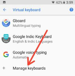 Manage Oreo keyboard