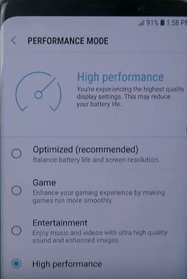 Performance mode galaxy S9 and galaxy S9 plus