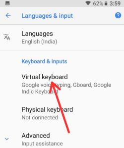 Virtual keyboard settings in android Oreo