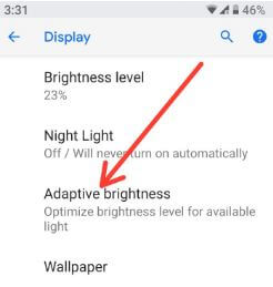 Android P Adaptive brightness settings